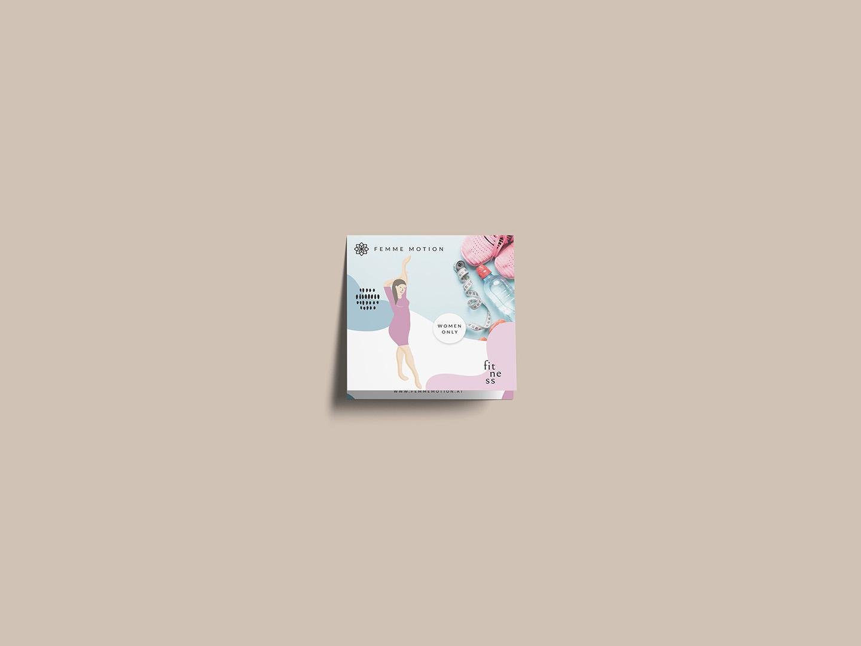 Femme Motion Fitnessstudio Villach - Druckprodukte Faltblatt im Quadratfalz (Kreuzfalz / Crossfold) von Flyeralarm by Minuteman - Mockup