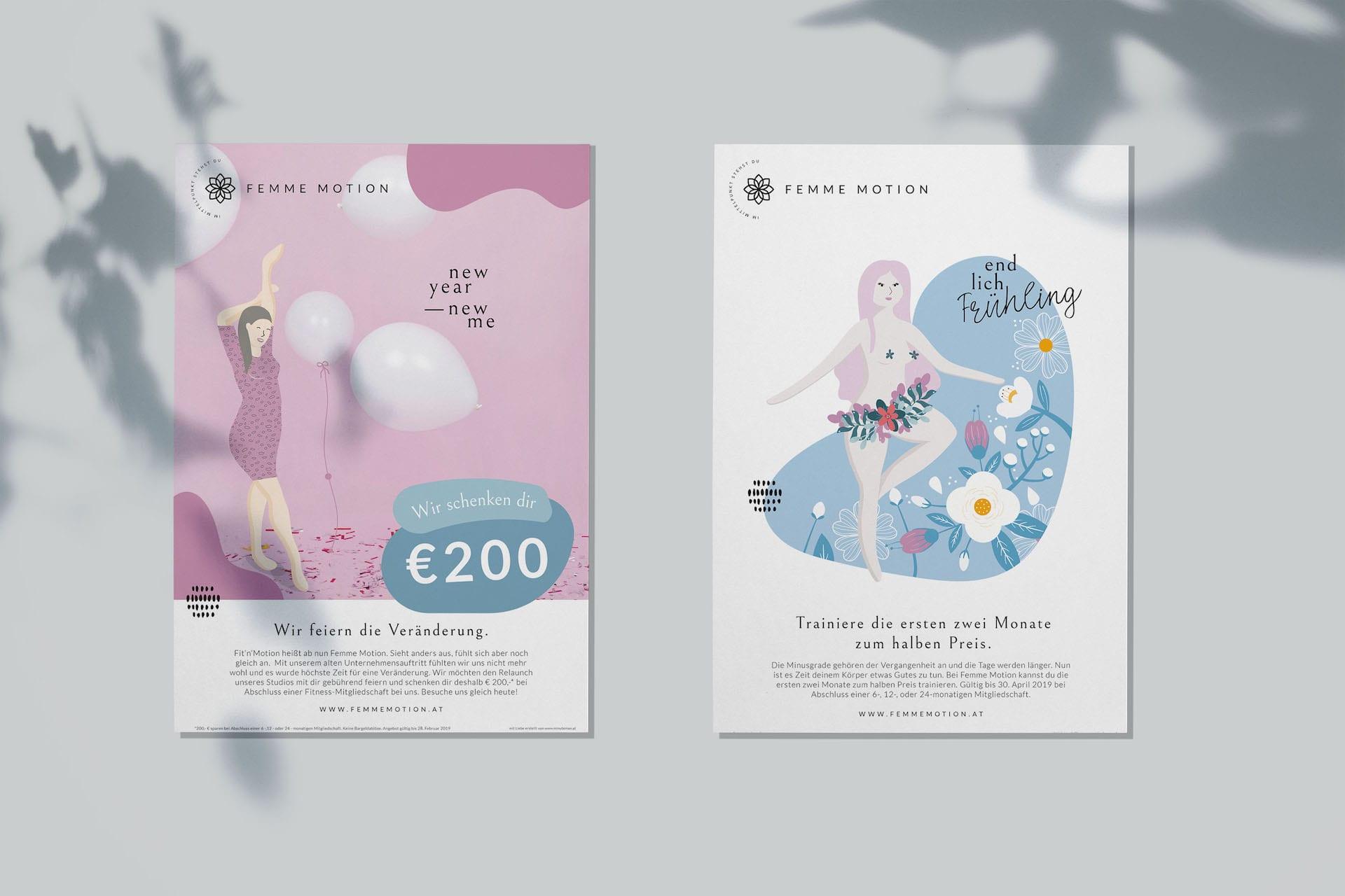 Femme Motion Fitnessstudio Villach - Design für die Poster im Studio mit Aktionen