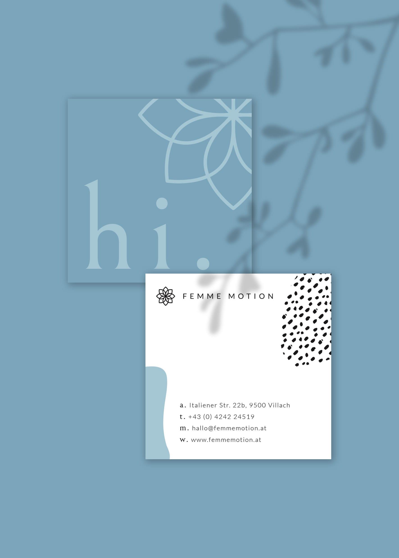 Femme Motion Fitnessstudio Villach - Design für die zwei Varianten der Visitenkarten - Zinn