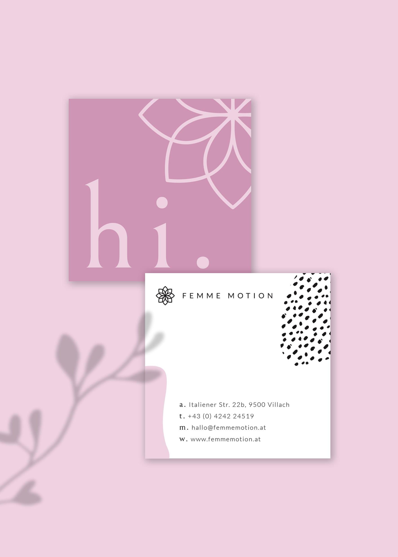 Femme Motion Fitnessstudio Villach - Design für die zwei Varianten der Visitenkarten - Zuckerwatte