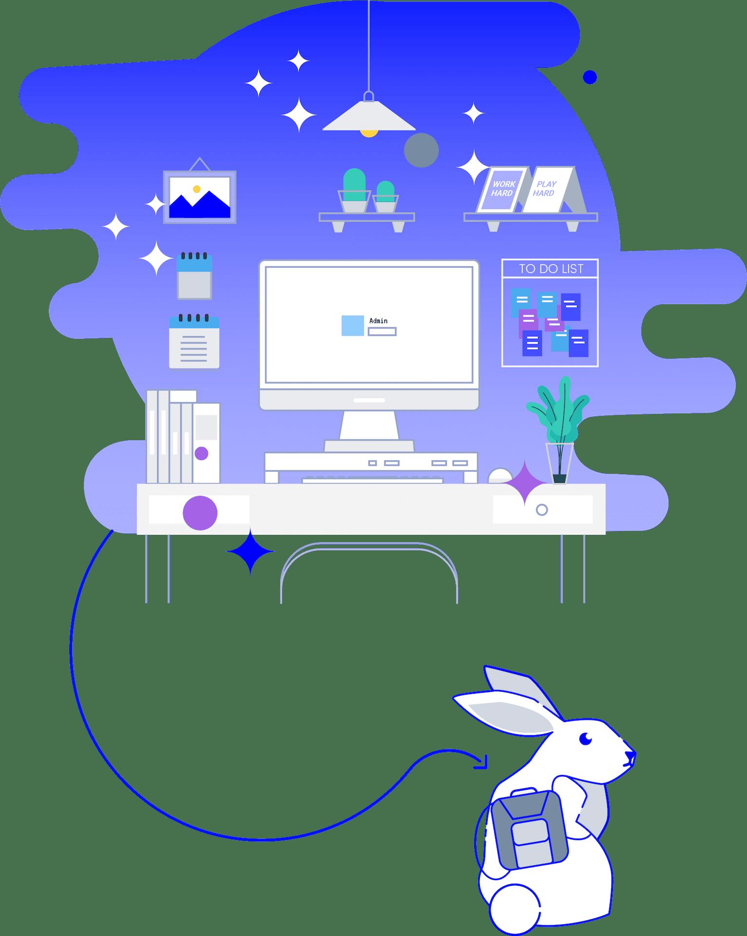 minuteman kontakt - deine Webdeigner und Grafiker in Villach - Kaninchen aus dem Home Office mit Rucksack
