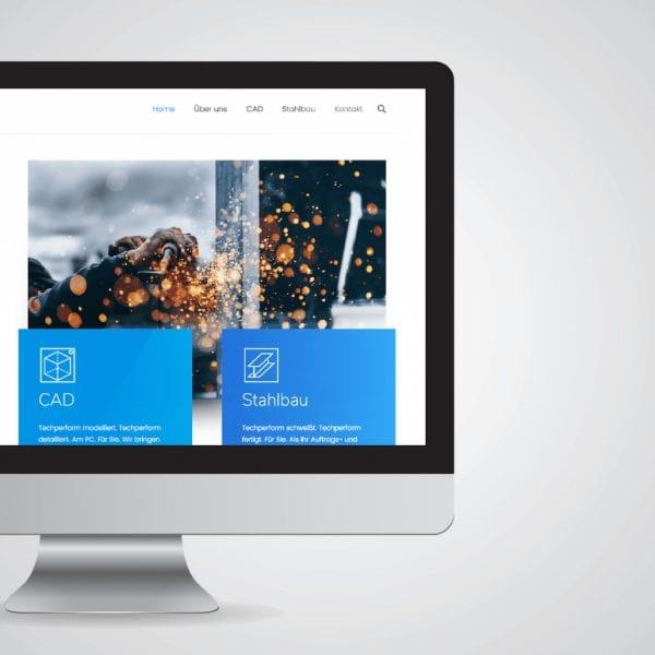 minuteman's Portfolio - CAD Dienstleistungen und Stahlbau aus einer Hand - techperform - abgeschnittenes Webseiten Mockup - Titelbild
