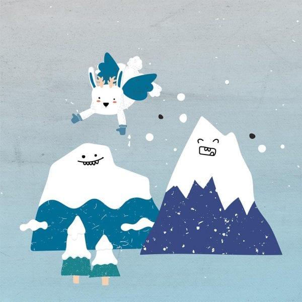 minuteman's Portfolio - Carinthia State Tour - Illustrationen Yeti, lachender Berg mit Schnee und ein Wolpertinger - Titelbild