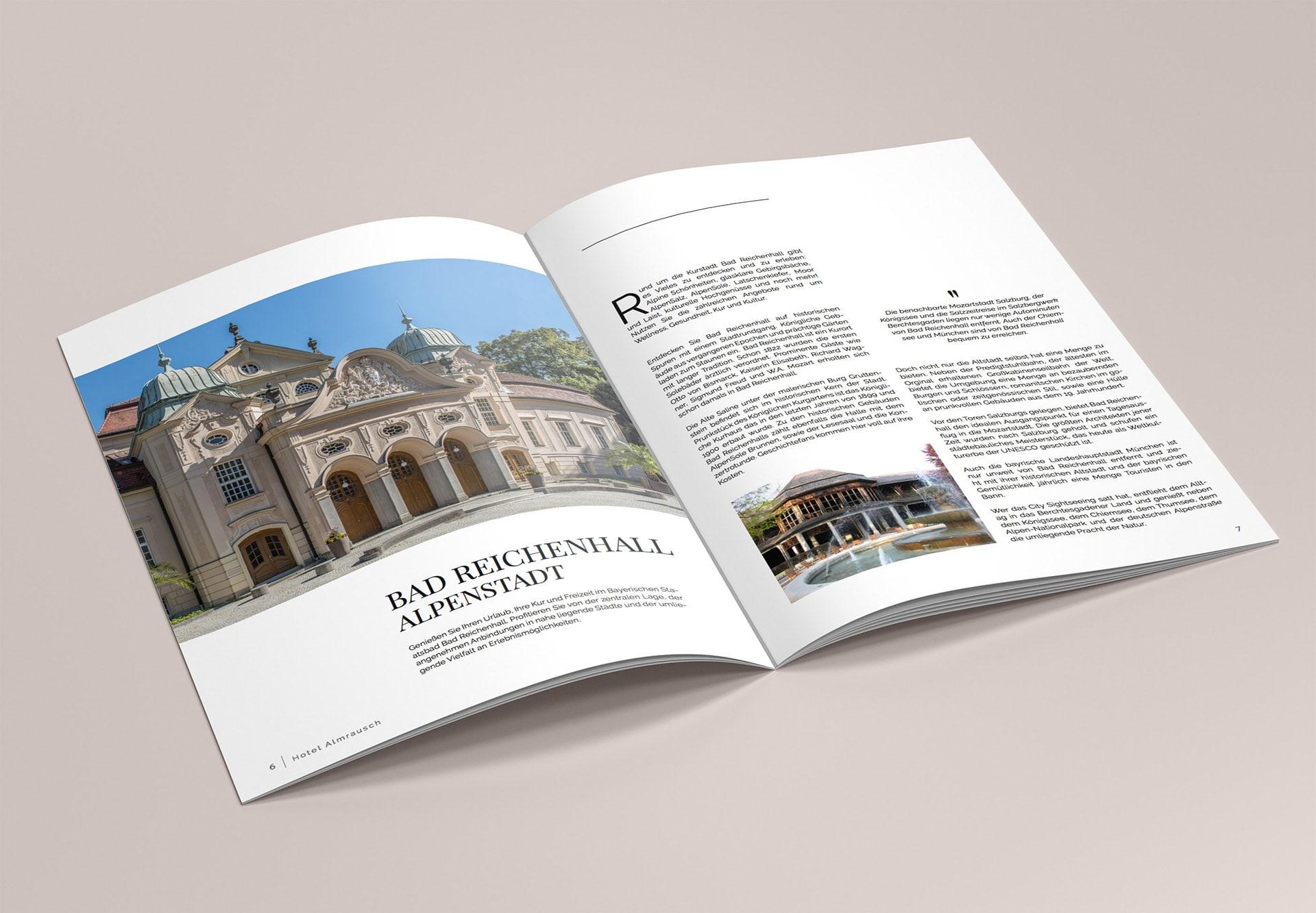 minuteman's Portfolio - Printdesign für das Hotel Almrausch in Bad Reichenhall - Hochglanz Broschüre Seite 2 Bad Reichenhall