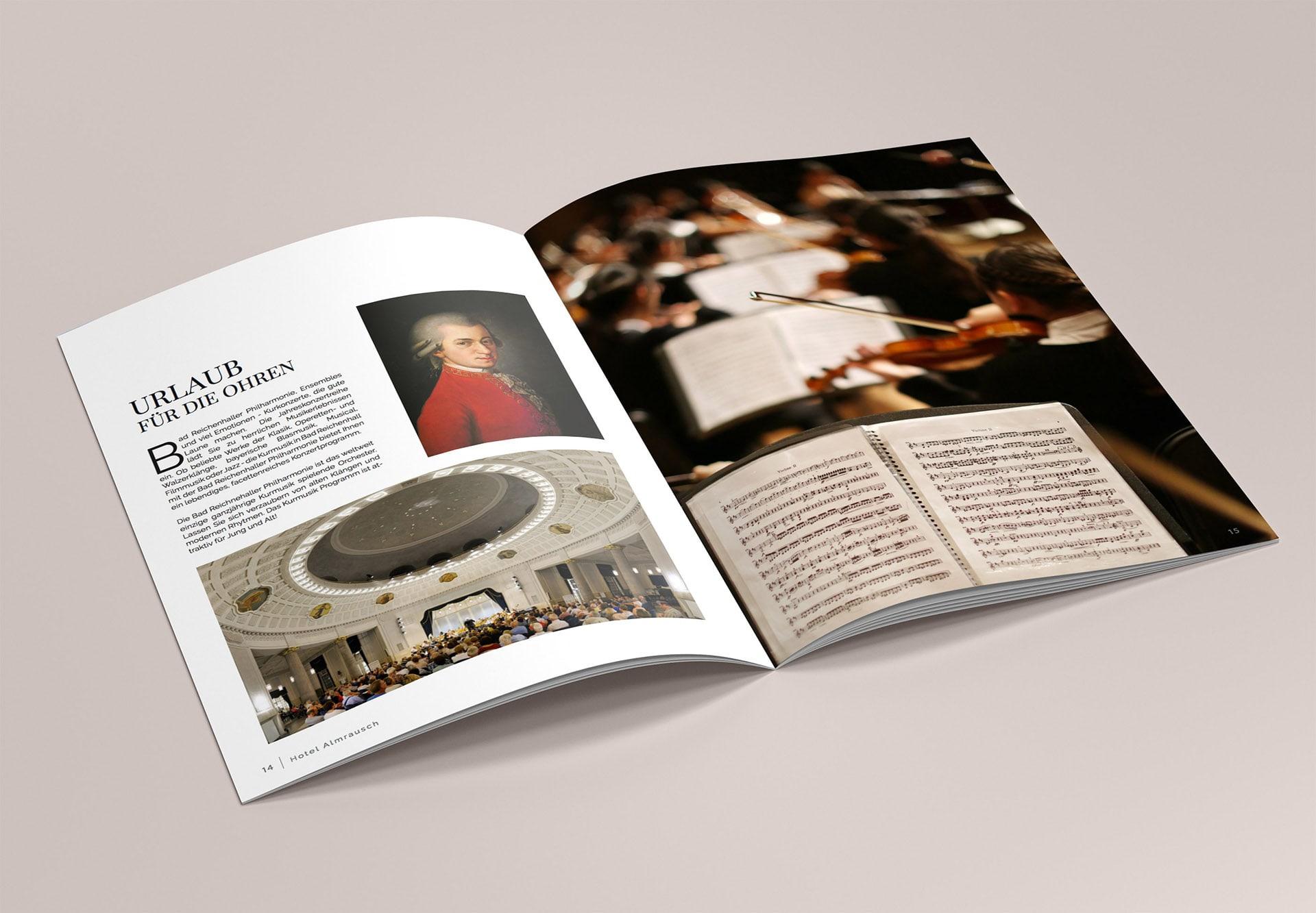 minuteman's Portfolio - Printdesign für das Hotel Almrausch in Bad Reichenhall - Hochglanz Broschüre Seite 6 Konzerte in und um Salzburg