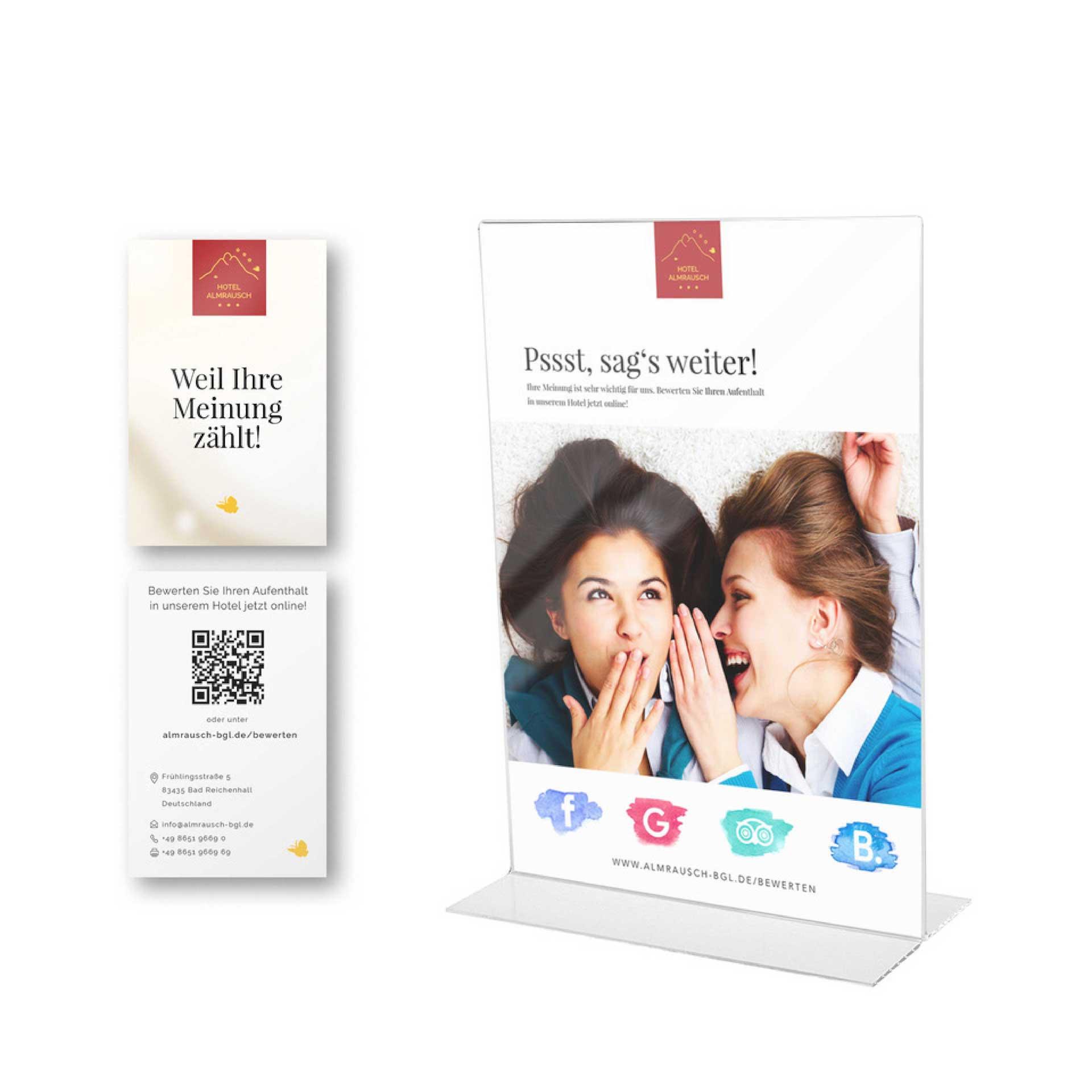minuteman's Portfolio - Grafikdesign für das Hotel Almrausch in Bad Reichenhall - Bewertungskarten für Kundenfeedback