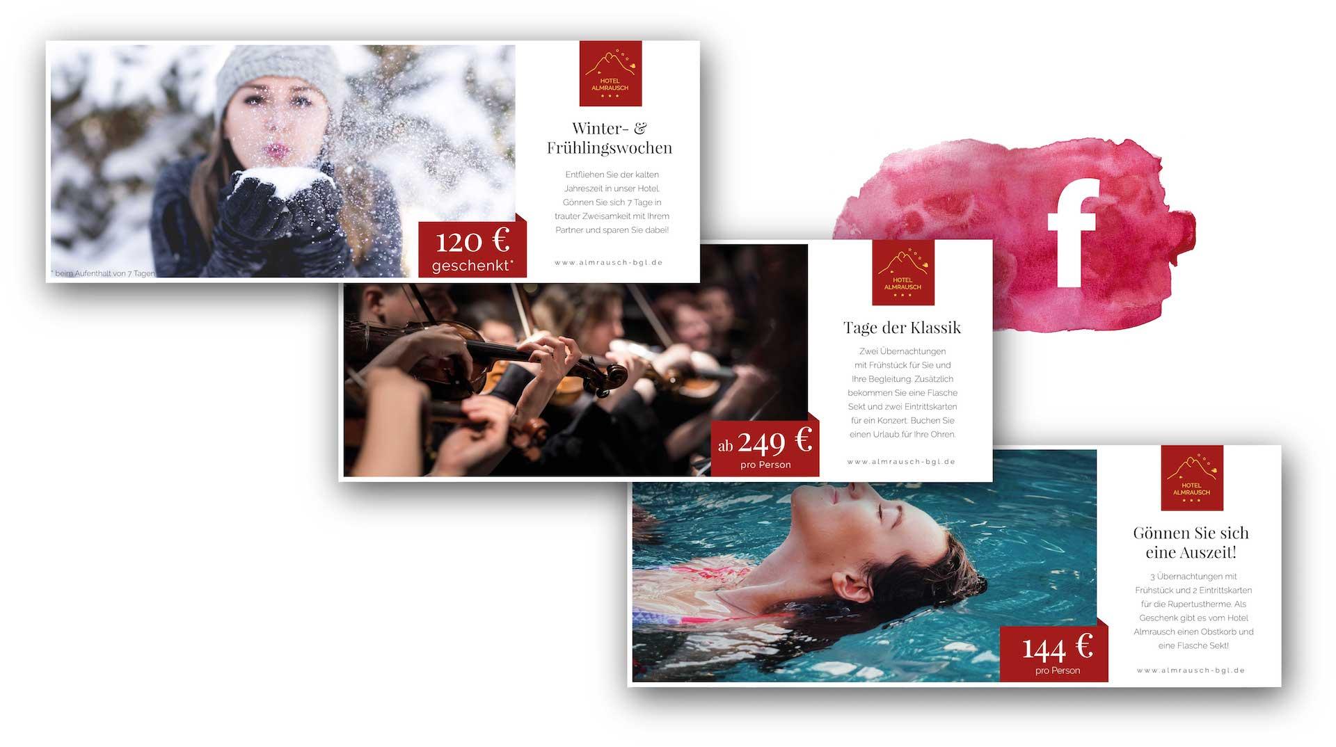 minuteman's Portfolio - Grafikdesign für das Hotel Almrausch in Bad Reichenhall - Social Media Banner