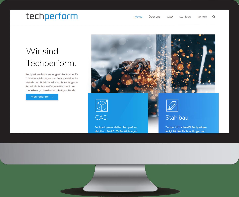 minuteman's Portfolio - Webdesign für techperform, ein CAD Zeichenbüro und Stahlbauer - Mockups iMac