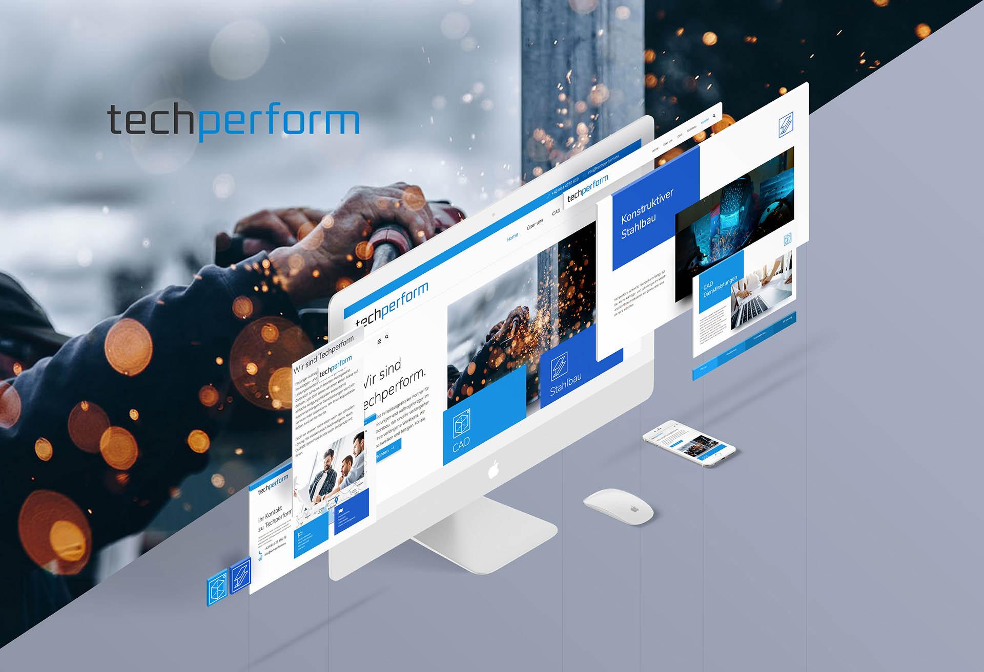 minuteman's Portfolio - Webdesign für den CAD Dienstleister und Schweißer techperfom - Homepage Screen