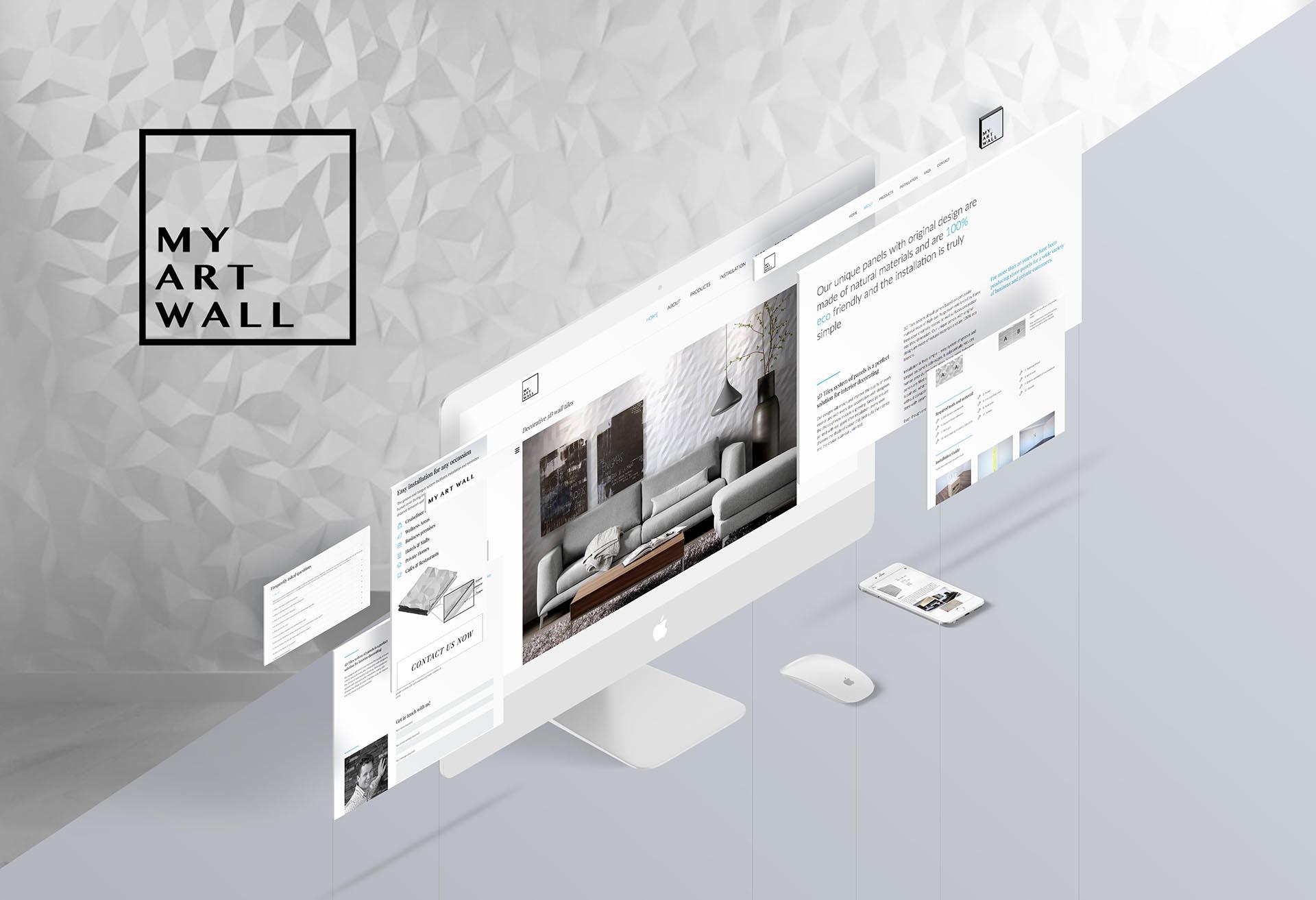minuteman's Portfolio - Webdesign für minimalistische Wandverkleidungen von My Art Wall - Homepage Screen