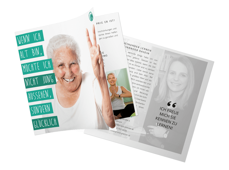 minuteman's Portfolio - Grafikdesign für die psychologische Praxis Pletzer in Innsbruck - Faltblatt quadratisch Cover und Rückseite