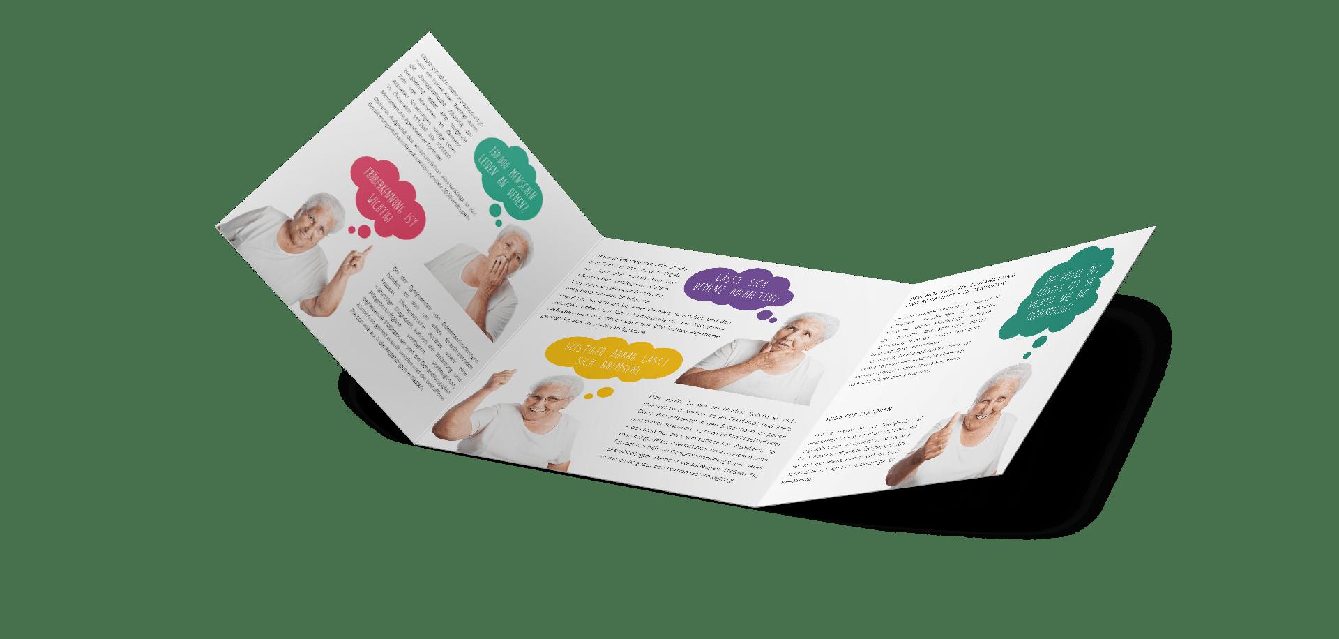 minuteman's Portfolio - Grafikdesign für die psychologische Praxis Pletzer in Innsbruck - Faltblatt quadratisch aufgeklappt Innenseiten