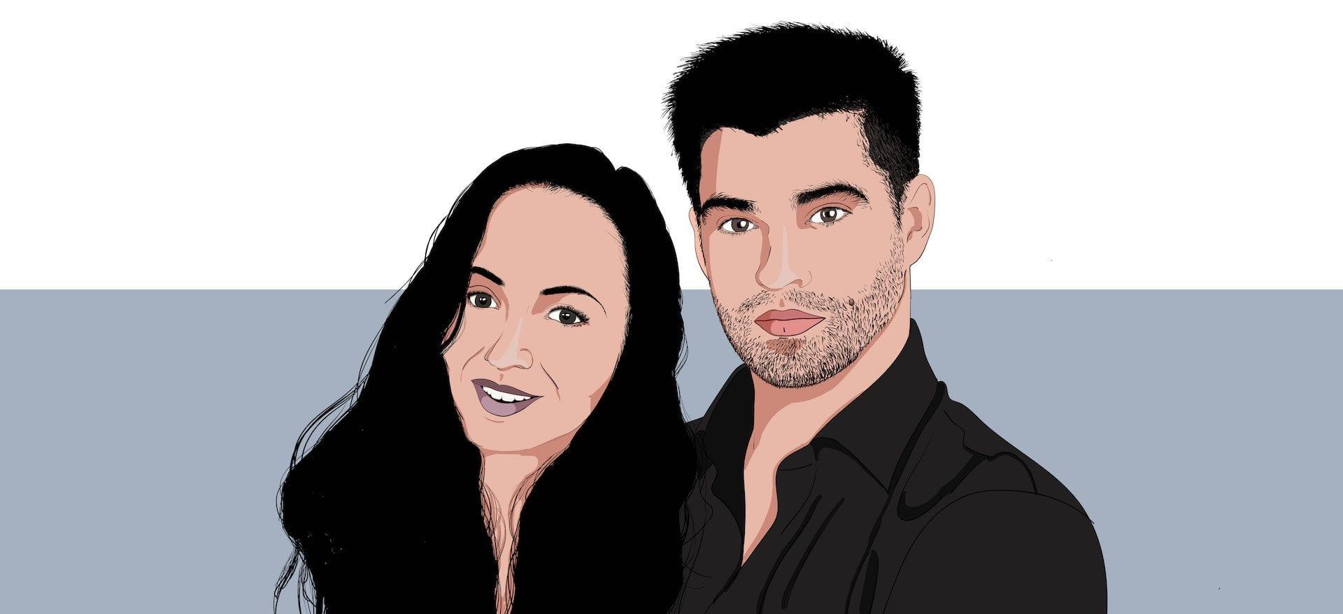 minuteman Team Grafikdesignerin und Webdesigner aus Villach - Monika Bakula und Philipp Wernig als Illustration Comic Portrait