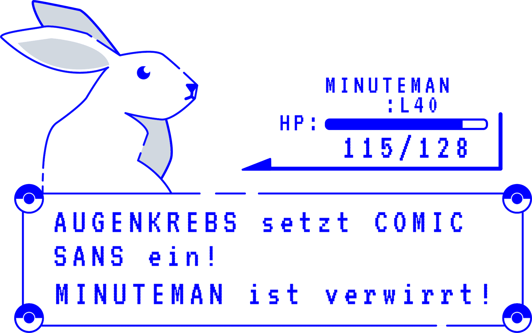 minuteman vs augenkrebs - Computerspiel Kampfszenario - Comic Sans - gutes Design siegt