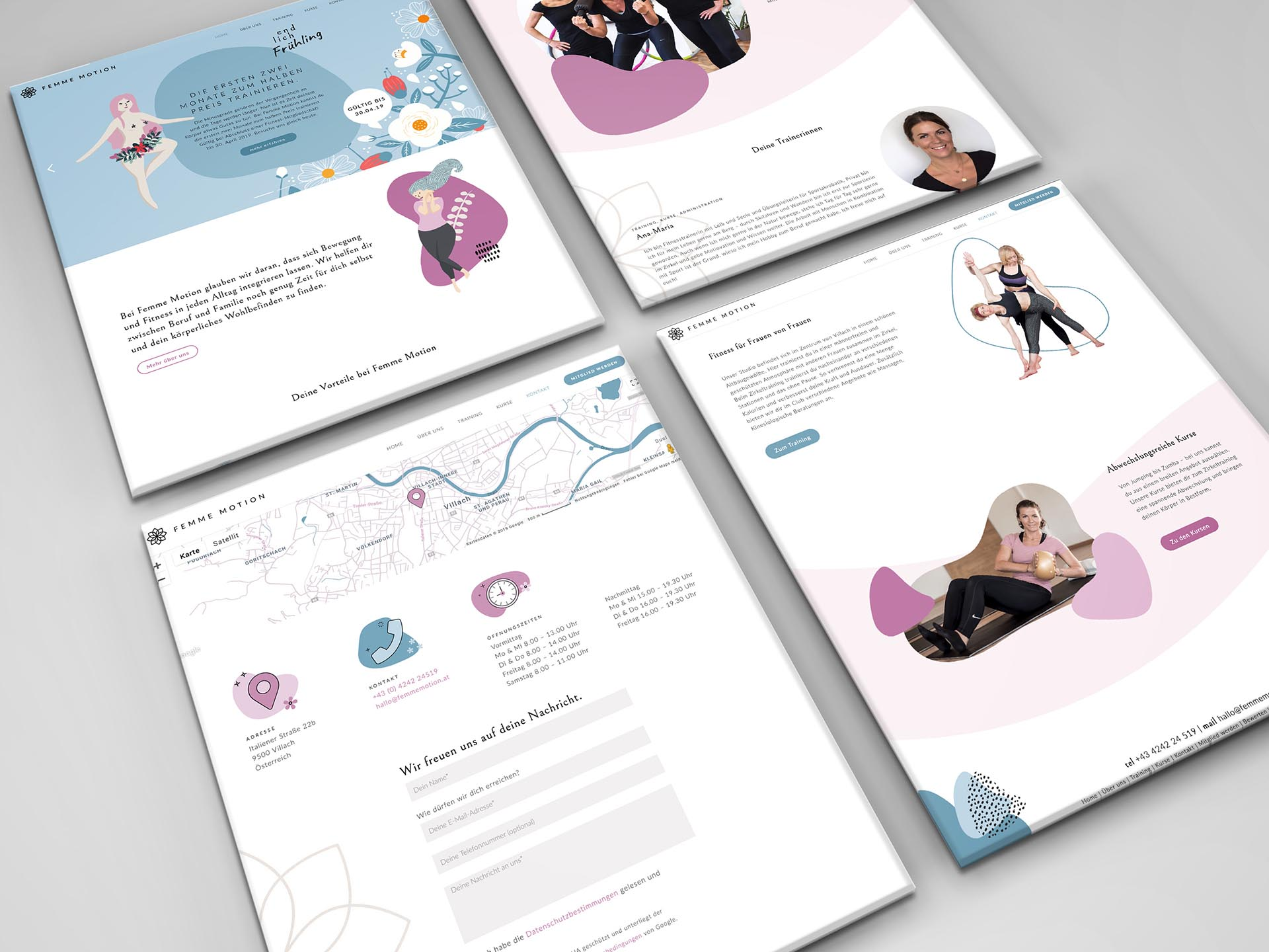Femme Motion Fitnessstudio Villach - Webdesign für das Frauen Fitnessstudio in Villach - Website Screens
