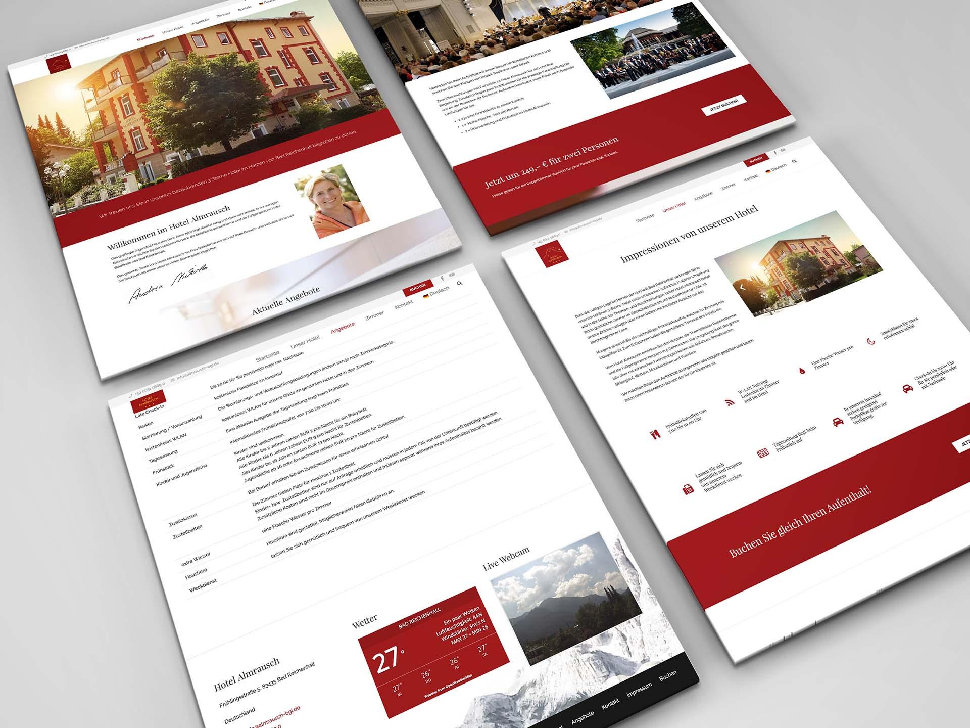 minuteman's Portfolio - Webdesign für das Hotel Almrausch in Bad Reichenhall - Aufnahmen der Webseite