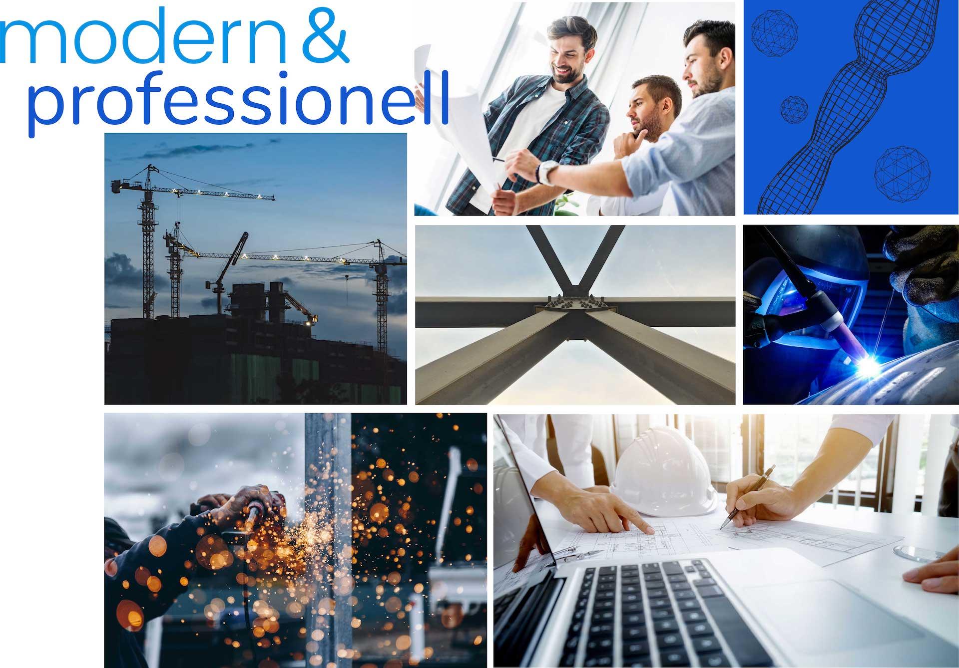 minuteman's Portfolio - Webdesign Moodboard für techperform - CAD Dienstleistungen und Stahlbau aus einer Hand