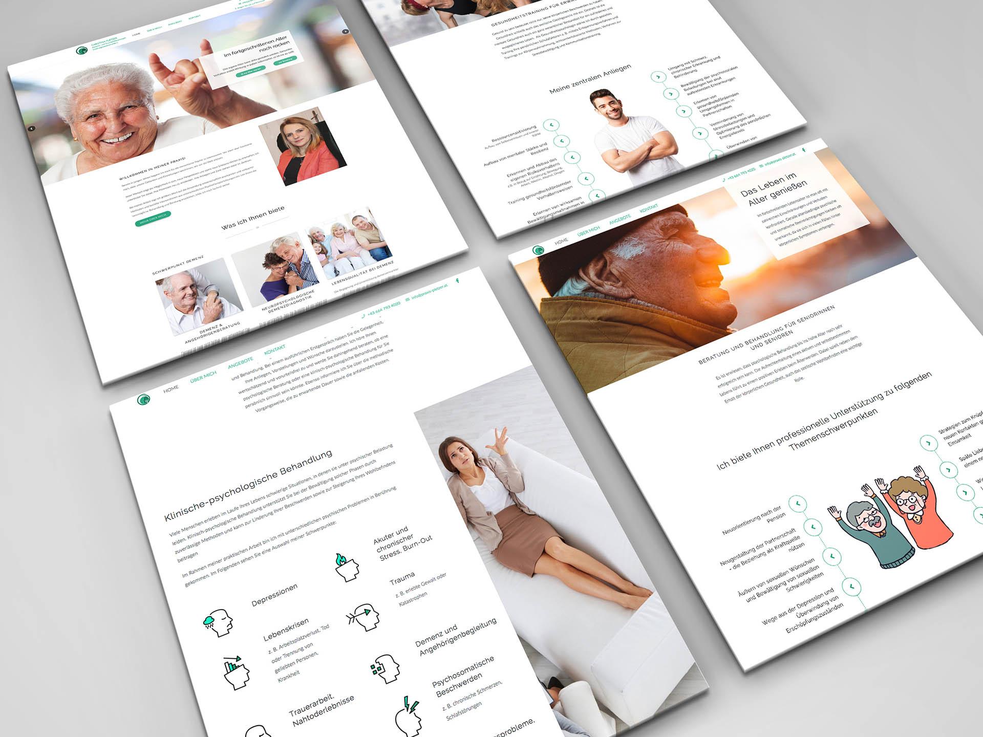 minuteman's Portfolio - Webdesign für die psychologische Praxis Pletzer in Innsbruck für Demenzkranke - Aufnahmen der Webseite