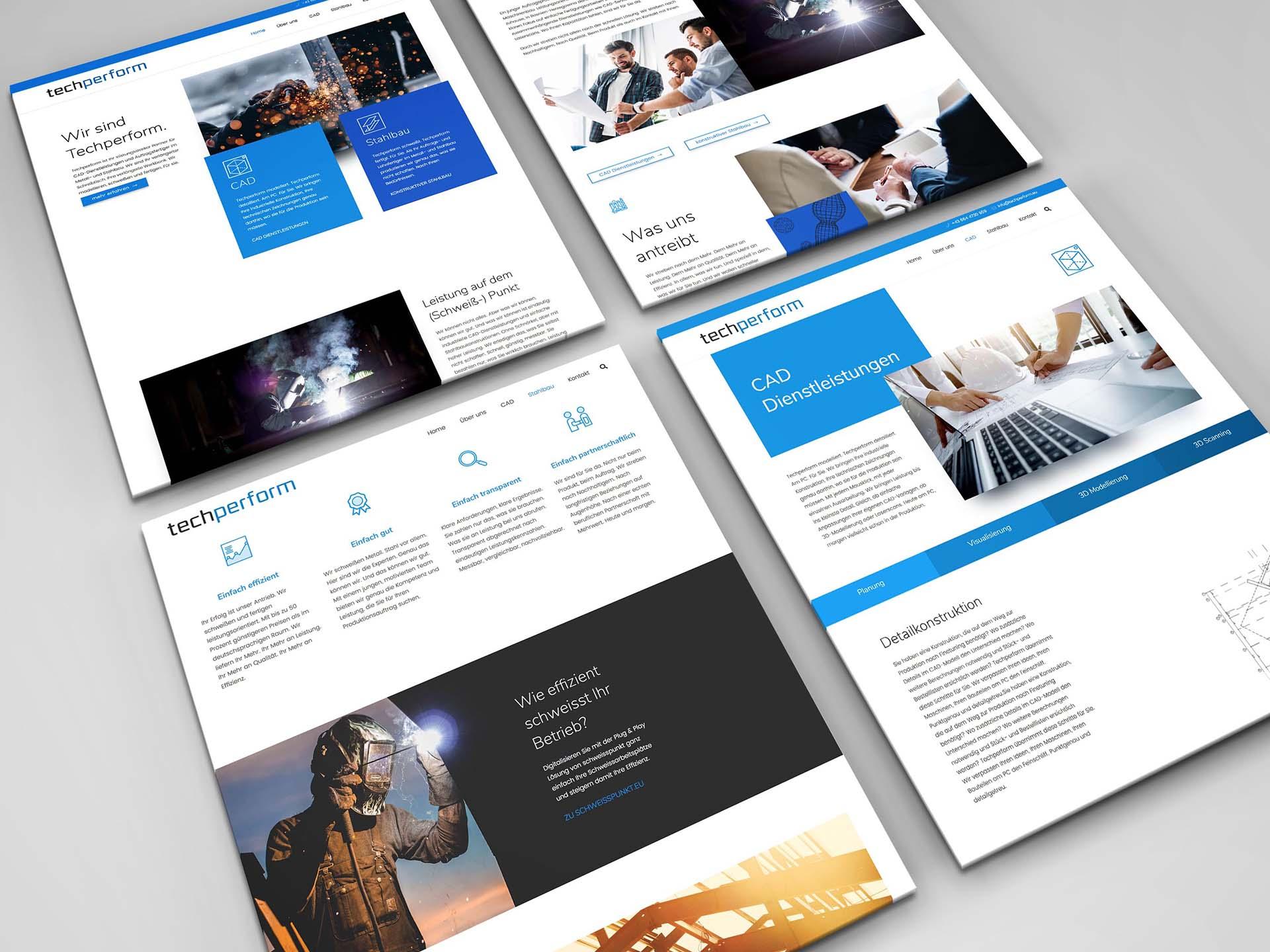 minuteman's Portfolio - Webdesign für techperform - CAD Dienstleistungen und Stahlbau - Aufnahmen der Webseite