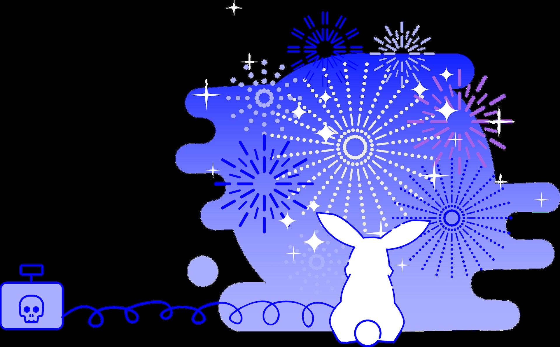 minuteman webdesign und grafik mit dem gewissen WOW-Effekt - Hase betrachtet Feuerwerk