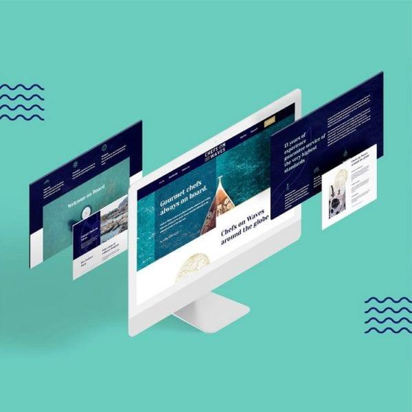 minuteman's Portfolio - Webdesign und Logoentwicklung für Chefs on Waves - Titelbild Komposition der Webseite