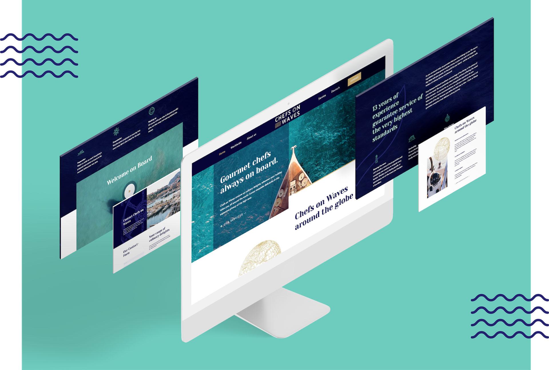 minuteman's Portfolio - Webdesign und Logoentwicklung für Chefs on Waves - Webseite Screens