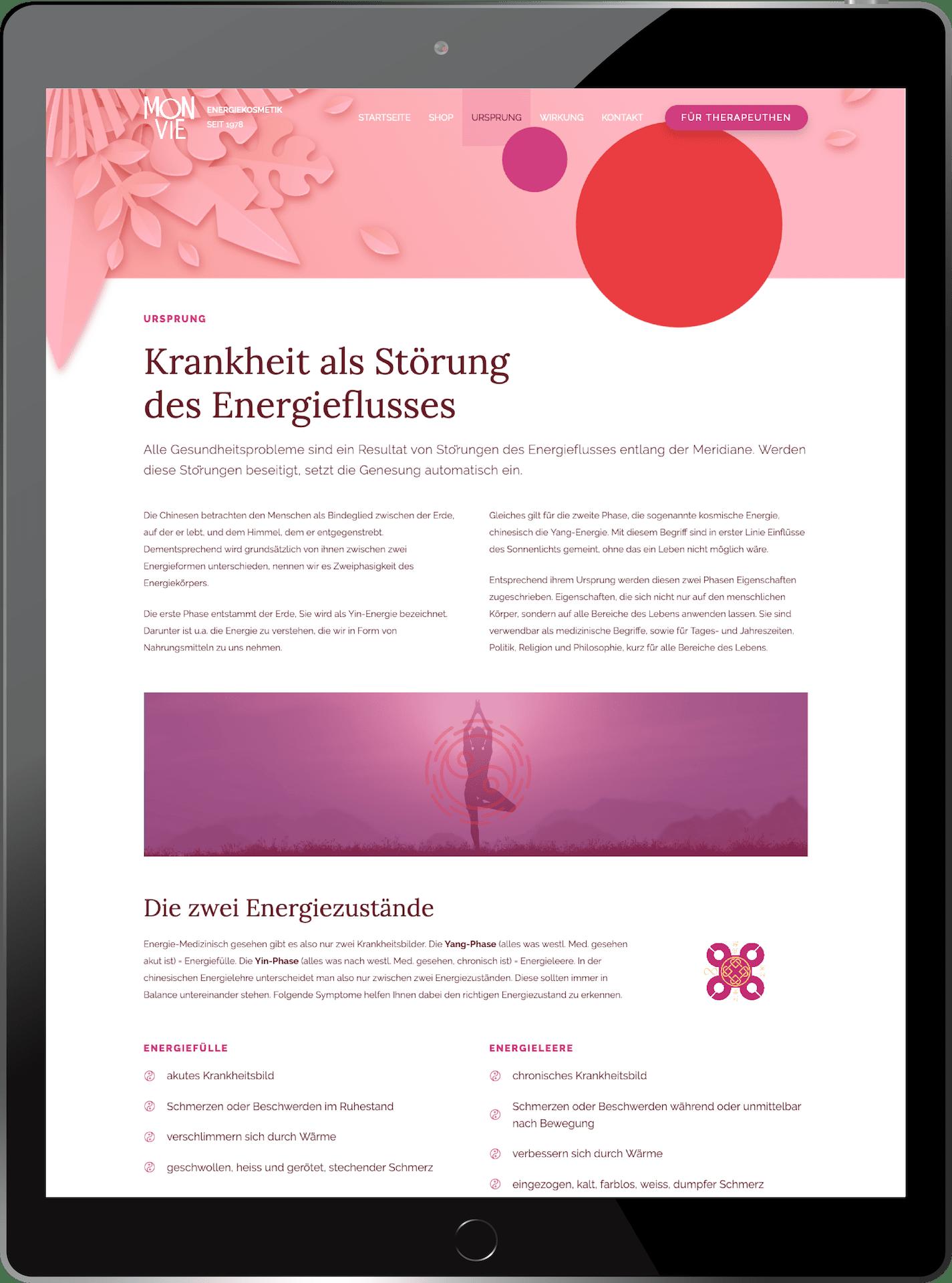 minuteman's Portfolio - Monvie EnerQi Energiekosmetik - Bodylotion und Massagecreme - Mockup am Tablet - Ursprung der Creme