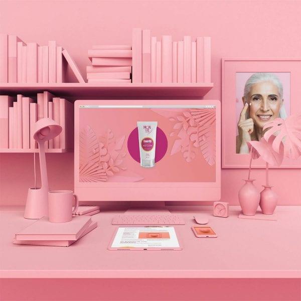 minuteman's Portfolio - Monvie EnerQi Energiekosmetik - Bodylotion und Massagecreme - rosa unicolor Mockup - Beitragsbild