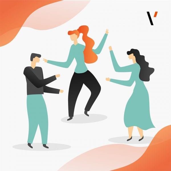 minuteman's Portfolio - individuelle Illustrationen für Venture Scale Digitalisierungsberatung aus Deutschland - Titelbild tanzende Figuren